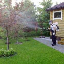 Распыление защитных средств для сада