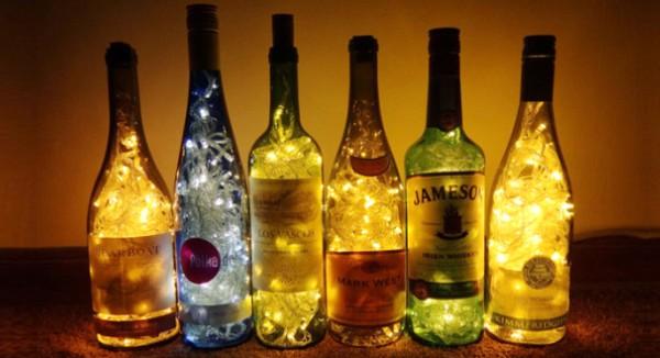 Светильники со стеклянных бутылок